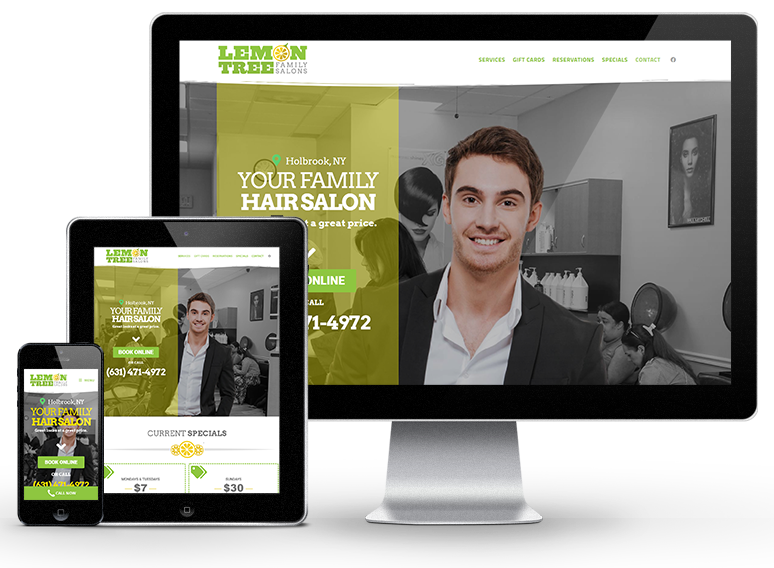 Website design mockup for Lemon Tree salons