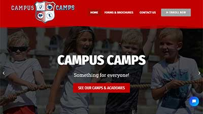 Website screenshot of website we built for Campus Camps