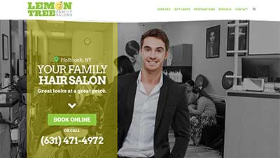 Website design screenshot for Lemon Tree salons
