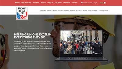Website design screenshot of website we built for Union Built PC