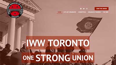 Screenshot of website we built for IWW Labor Union